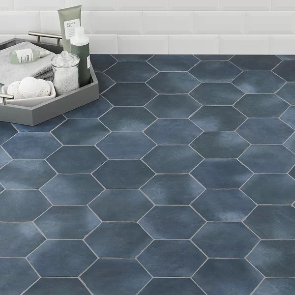 navy blue hexagon tile