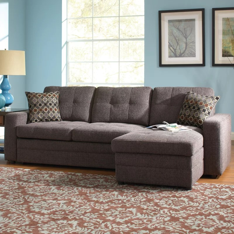 chanelle right hand facing sleeper sectional with ottoman