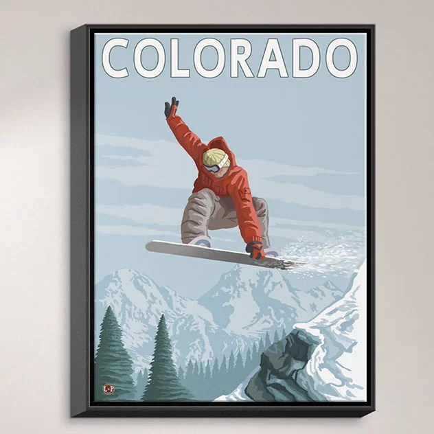 Colorado Snowboarder by Lantern Press Painting Print on Wrapped Framed Canvas Size: 37.75 H x 25.75 W x 1.75 D Frame Color: Black