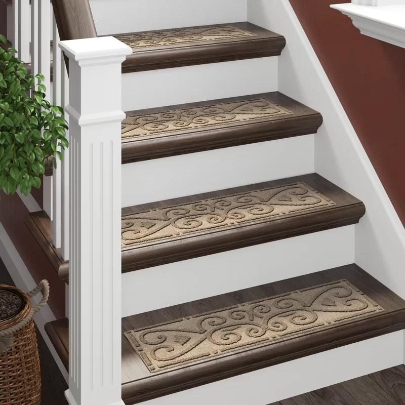 Tucker Murphy™ Pet Beauvais Scroll Stair Tread Reviews Wayfair | Wayfair Stair Carpet Runners | Textured Carpet | Rosalind Wheeler | Staircase Makeover | Treads Carpet | Brown Beige