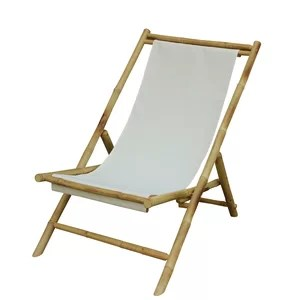 Atalya Folding Bamboo Relax Sling Beach Chair