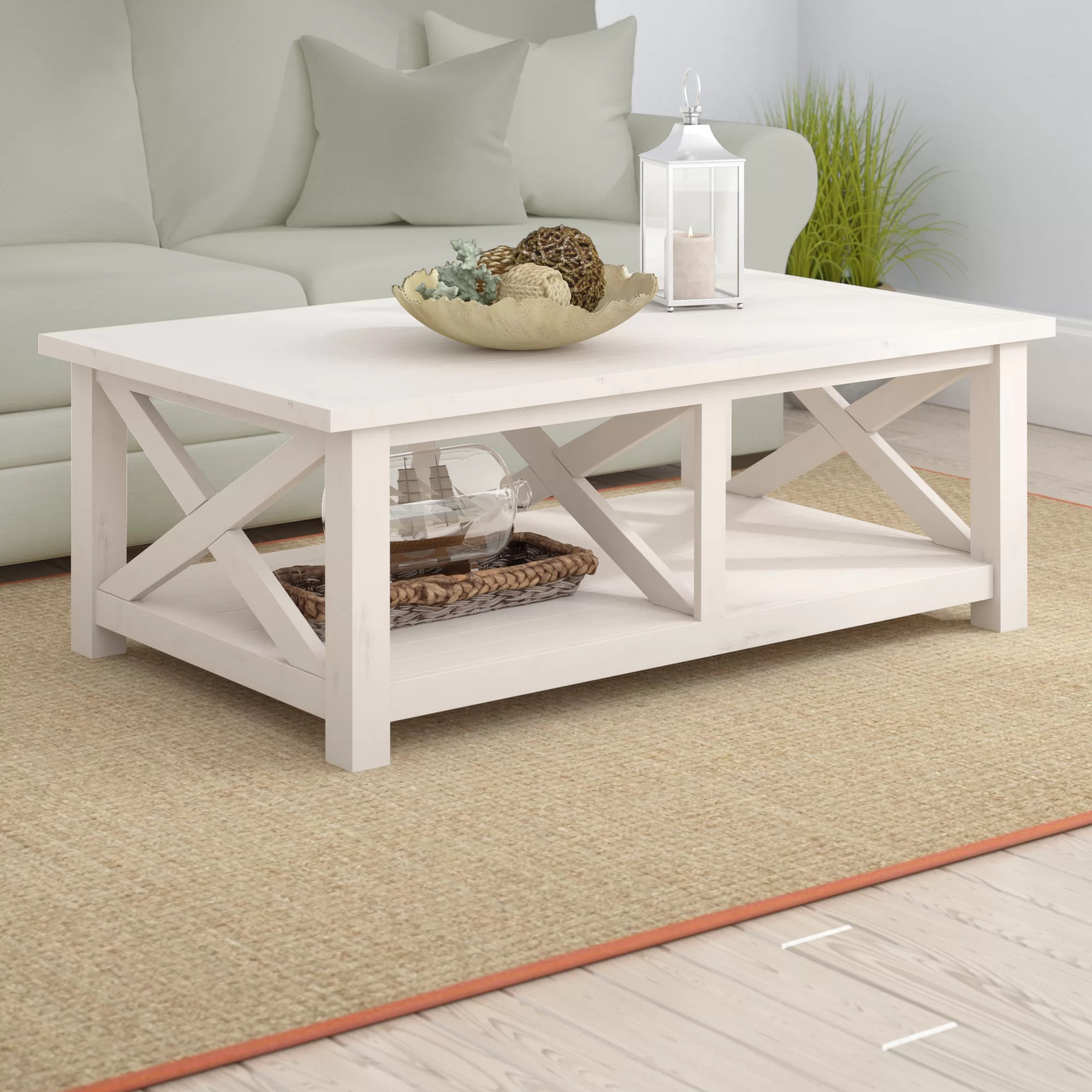 ruffner solid wood coffee table with storage