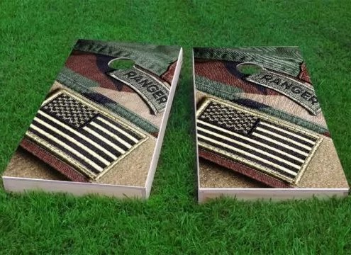 US Army Ranger Patch with American Flag Cornhole Game Size: 48 H x 24 W Bag Fill: All Weather Plastic Resin