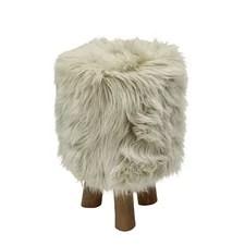 Houston Wood/Faux Fur Round Stool