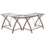 Offex Glass L Shape Corner Desk