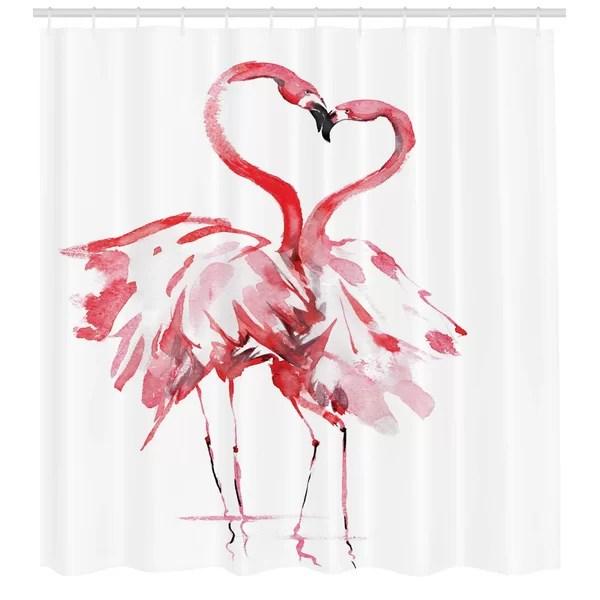 edwardsville flamingo shower curtain set hooks