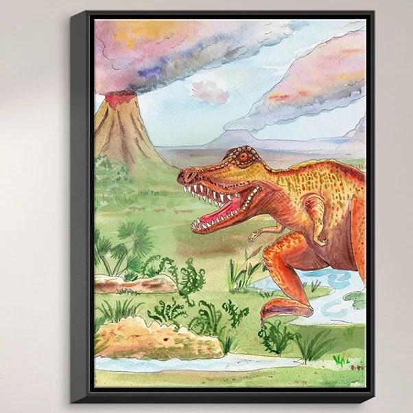 Dinosaur III by Catherine Holcombe Painting Print on Wrapped Framed Canvas Size: 21.75 H x 17.75 W x 1.75 D Frame Color: Black