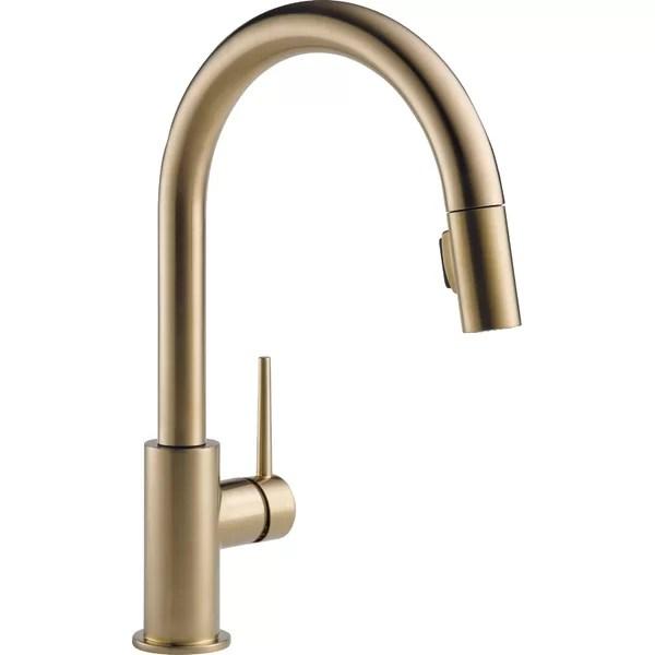 modern contemporary matte gold kitchen faucet