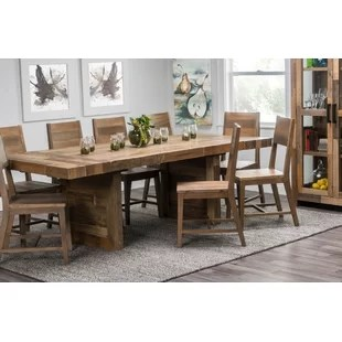 solid oak dining table and chairs vintage metal chair farmhouse tables birch lane norman extendable wood