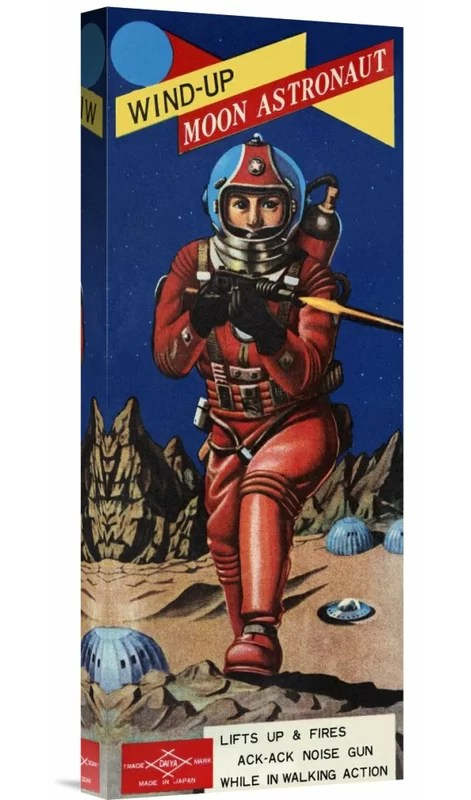 Wind-Up Moon Astronaut by Retrobot Vintage Advertisement on Wrapped Canvas