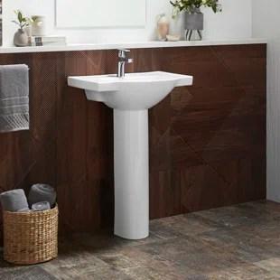 veer ceramic pedestal bathroom sink with overflow