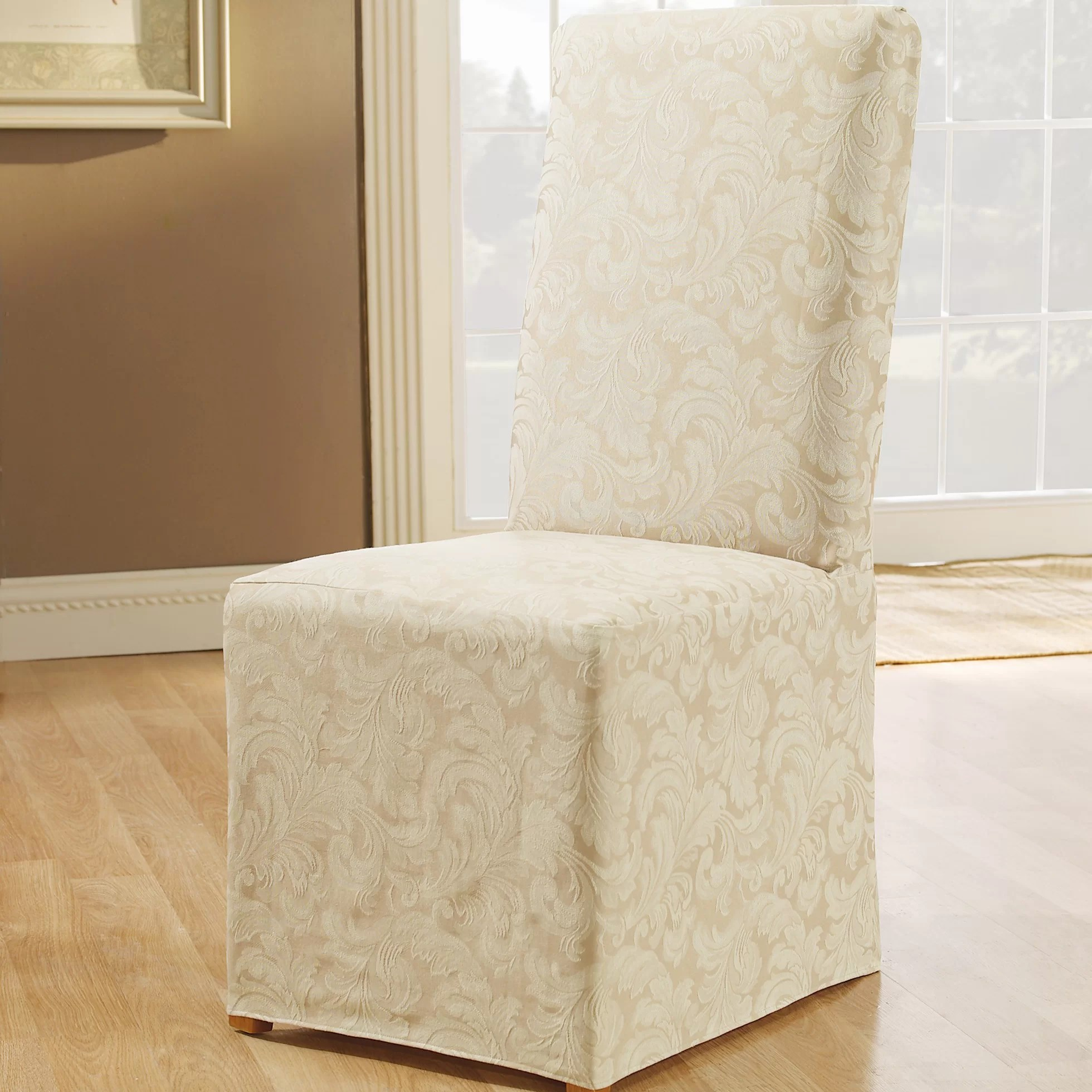 Slip Cover For Chair Scroll Classic Box Cushion Dining Chair Slipcover