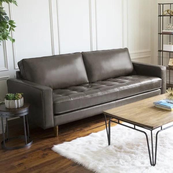 modern contemporary saddle gray leather sofa