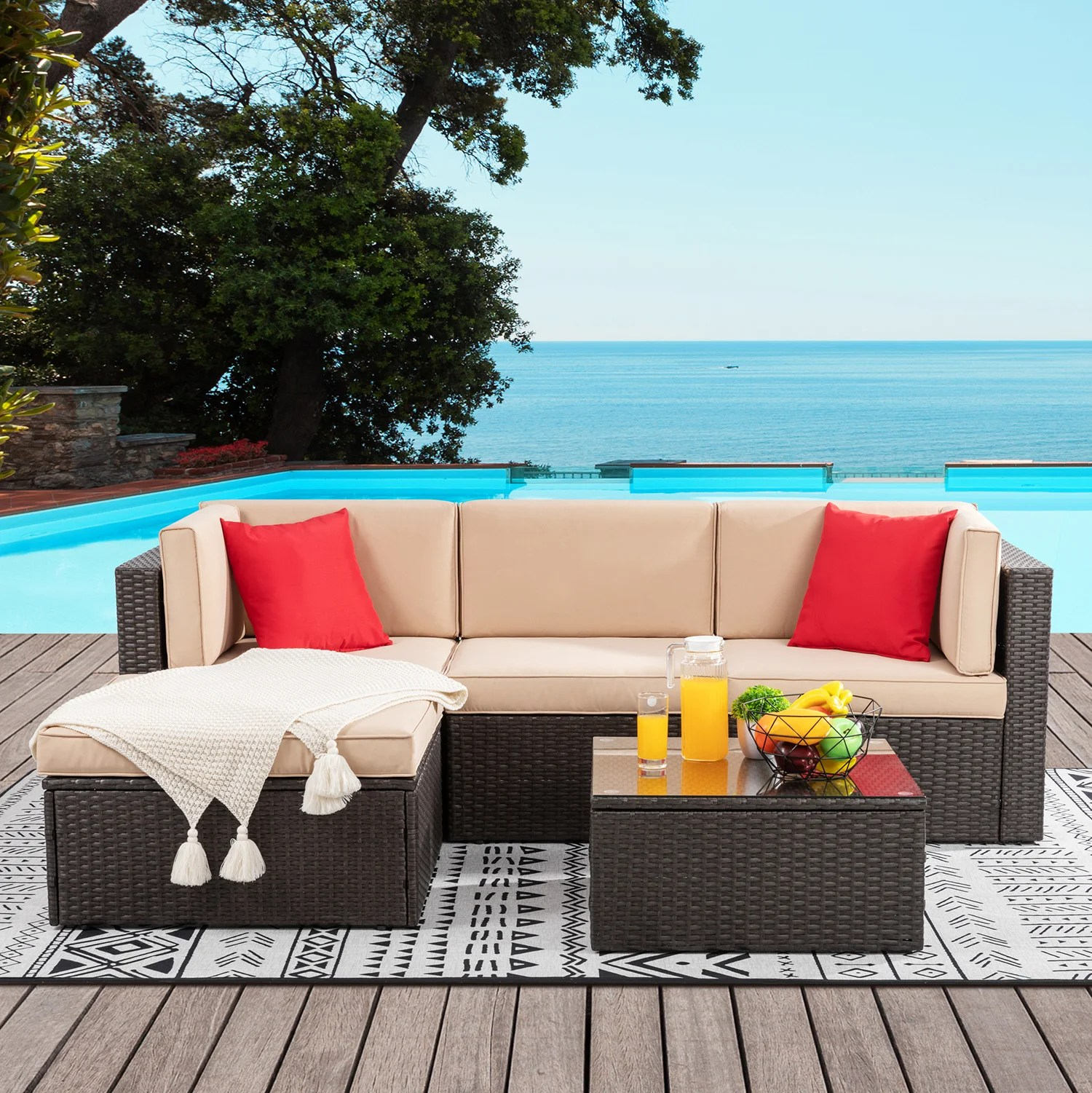 ebern designs 5 pieces small patio furniture sets outdoor all weather sectional patio sofa set pe rattan wicker patio conversation set with ottoman glass table and beige cushions brown reviews wayfair ca