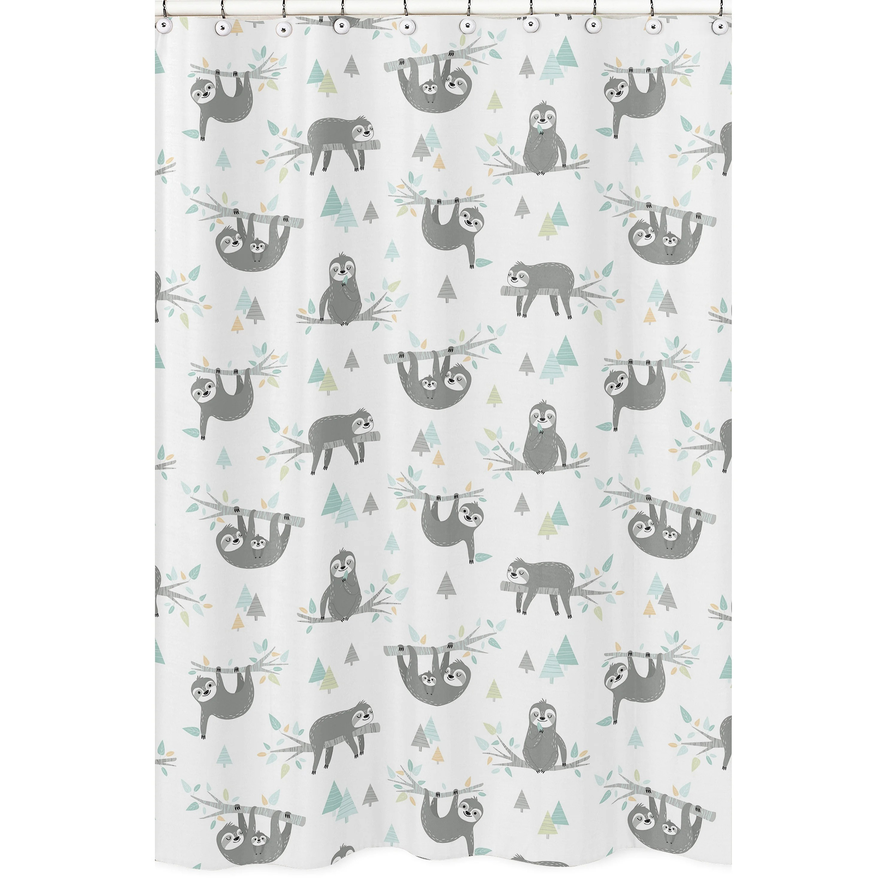 aqua and grey sloth collection single shower curtain