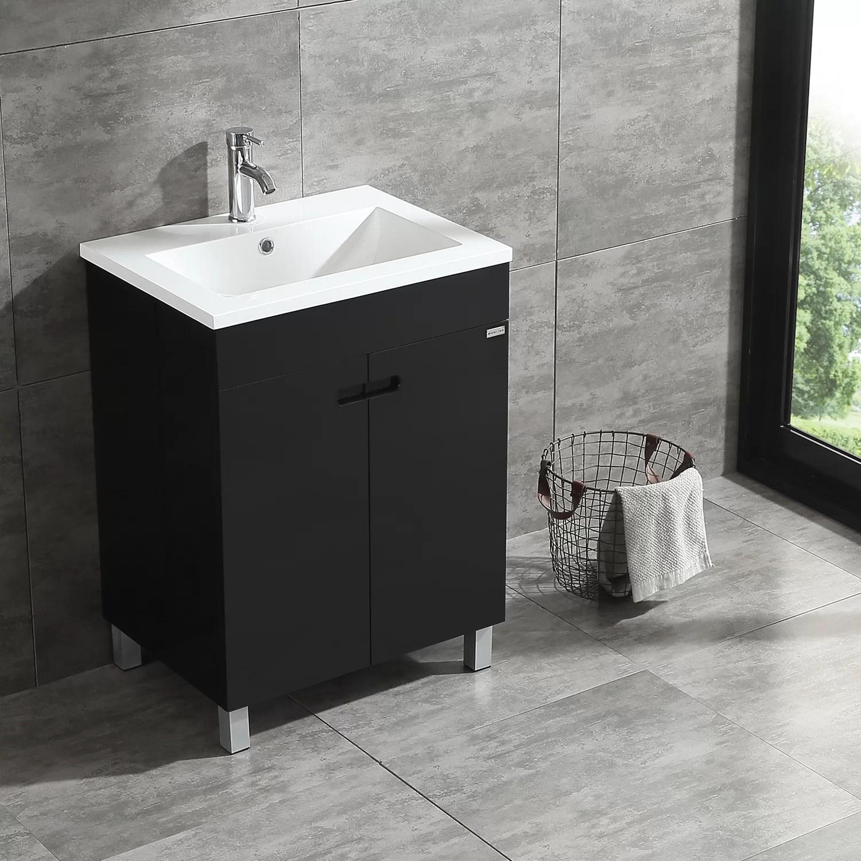 24 black single wood bathroom vanity cabinet