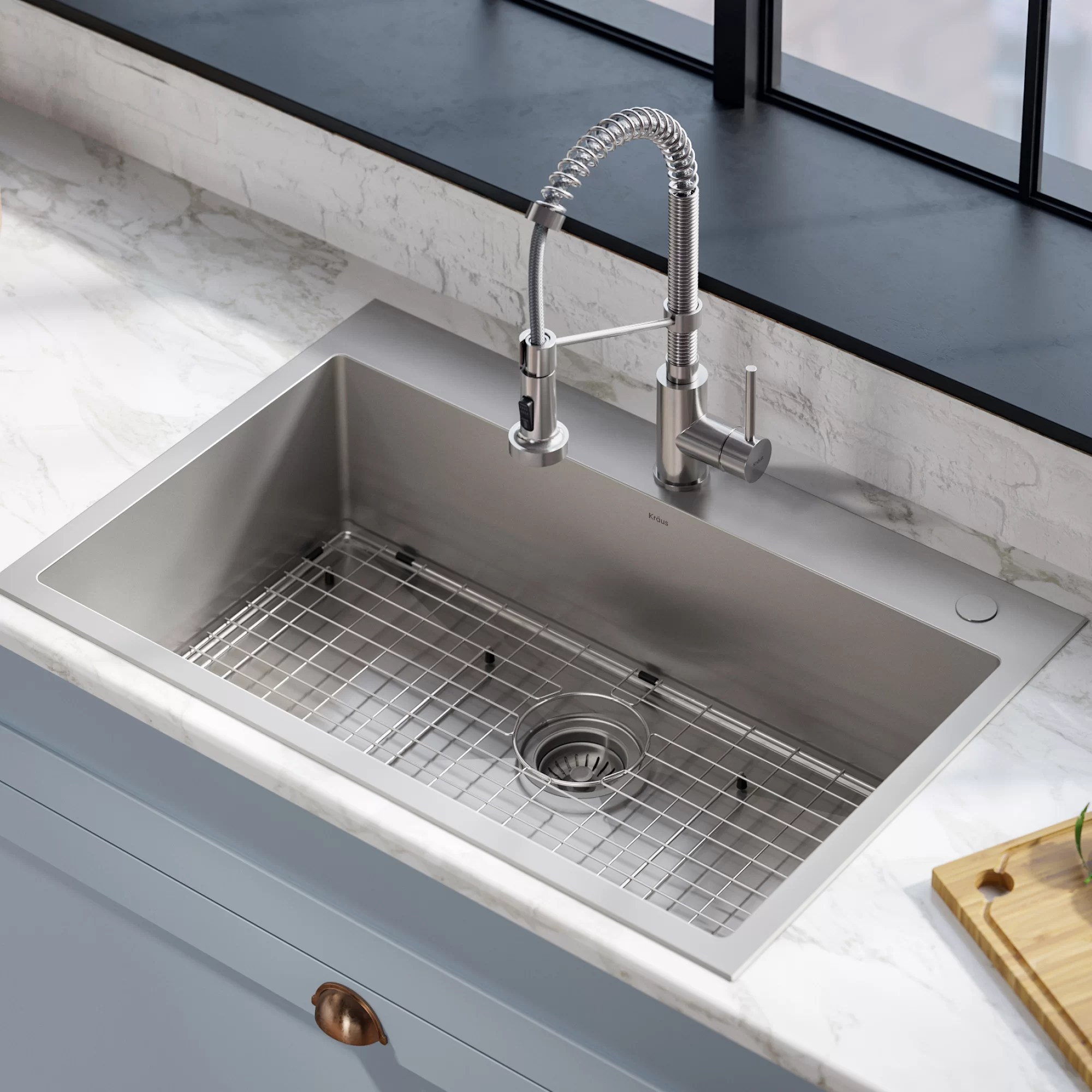 stark pull down commercial combo 33 l x 22 w kitchen sink with faucet