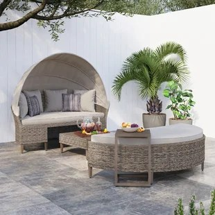 broxton 4 piece rattan patio daybed with cushion