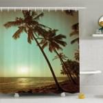 Palm Tree Sunset Tropical Beach Dusk On Pacific Ocean Vintage Exotic Landscape Print Shower Curtain Set