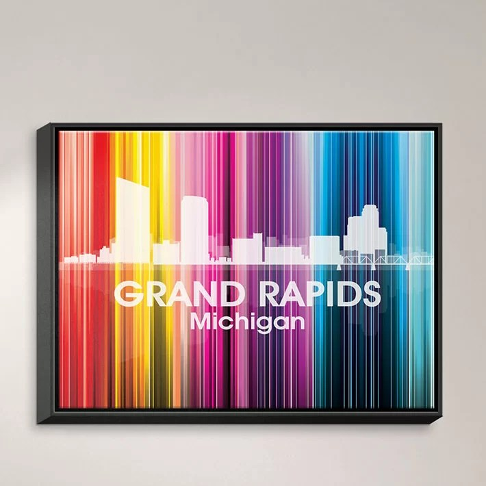 City II Grand Rapids Michigan by Angelina Vick Graphic Art on Wrapped Framed Canvas Size: 17.75 H x 21.75 W x 1.75 D Frame Color: Black