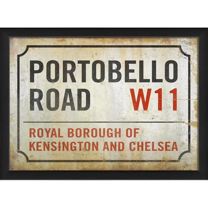 Portobello Road London Street Sign Framed Textual Art
