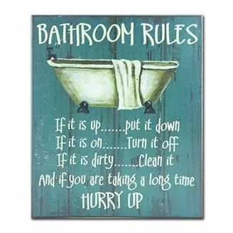 august grove bathroom rules textual art & reviews | wayfair