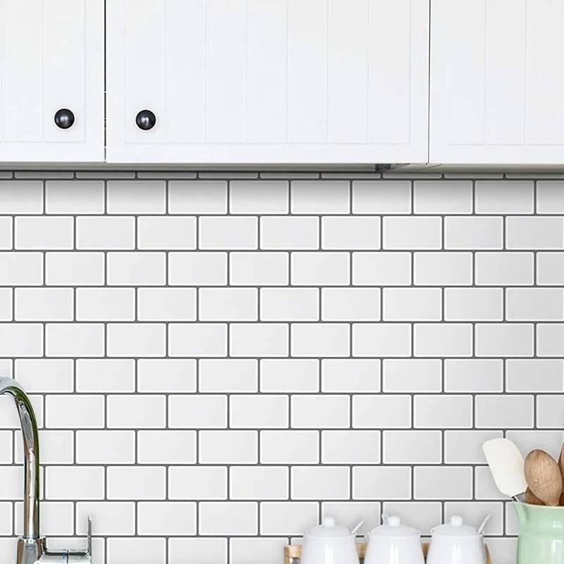 2 5 sheet peel and stick backsplash tiles waterproof removable subway wall panels 3d self adhesive tile backsplash for kitchen bathroom laundry