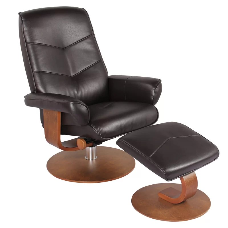 sascha faux leather manual recliner with ottoman