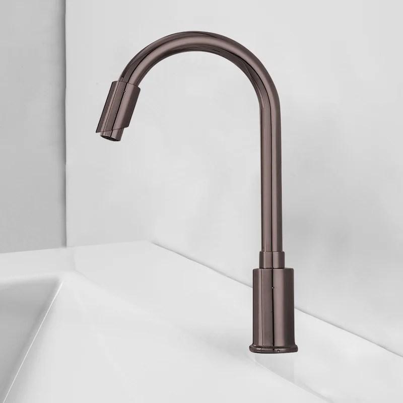 rio goose neck single hole bathroom faucet less handles