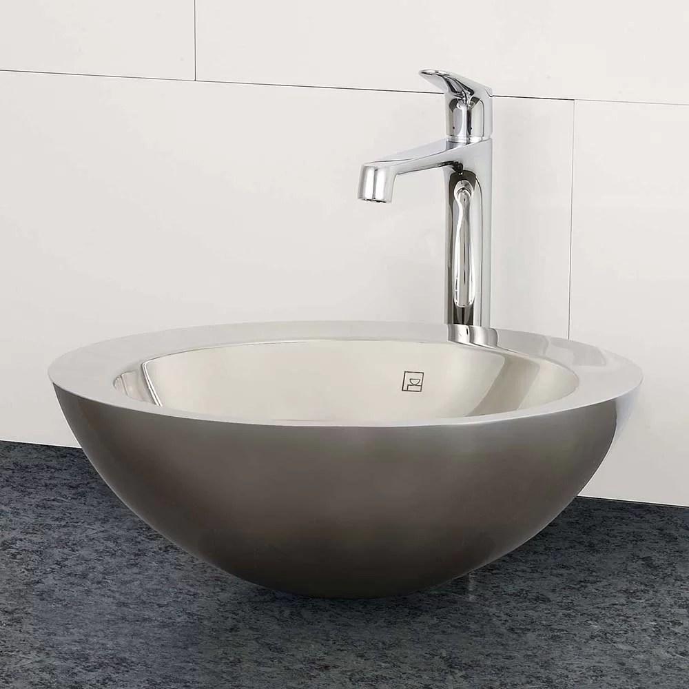 simin stainless steel metal circular vessel bathroom sink with overflow