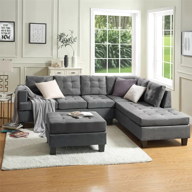 ahloni 99 17 right hand facing modular sectional with ottoman