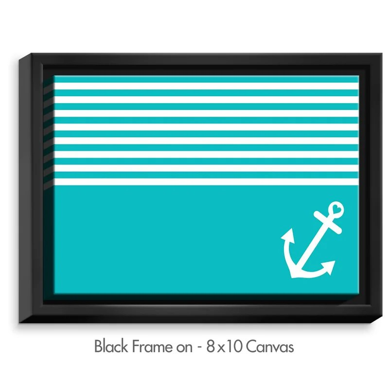 Teal Love Anchor Nautical by Organic Saturation Graphic Art on Wrapped Framed Canvas Size: 12.75 H x 15.75 W x 1.75 D Frame Color: Black