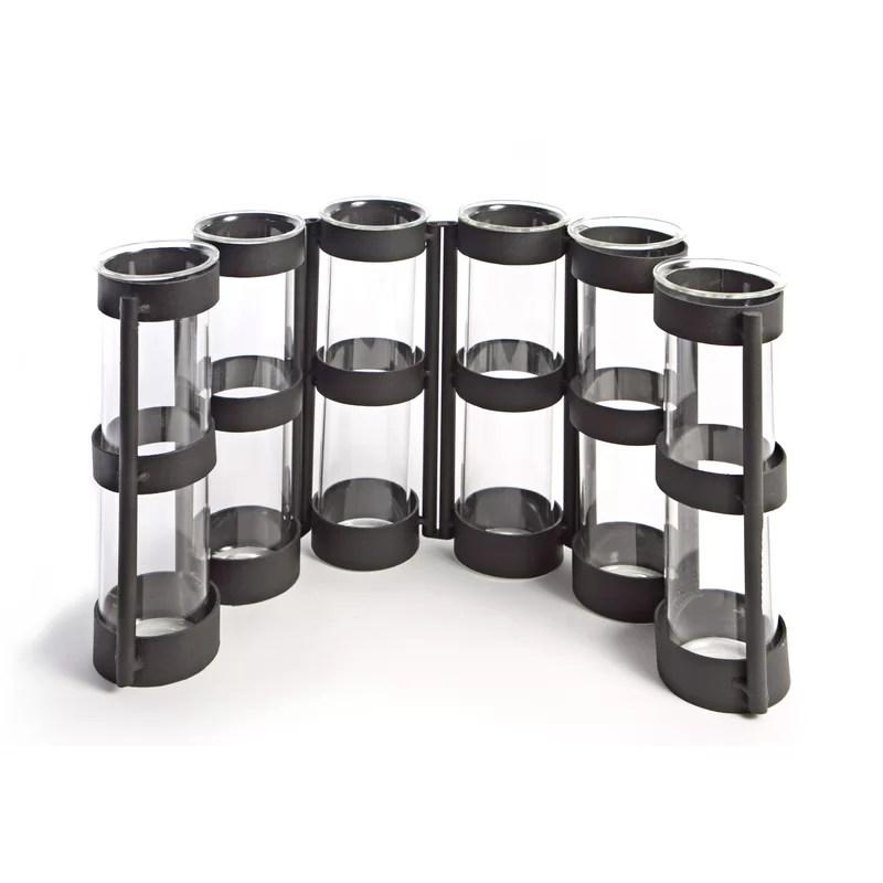 Frankie 7 Piece Metallic Vase with Stand Set Color: Black