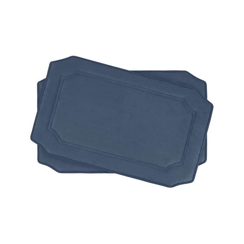 Walden Small Premium Micro Plush Memory Foam Bath Mat Set Color: Dusty Blue