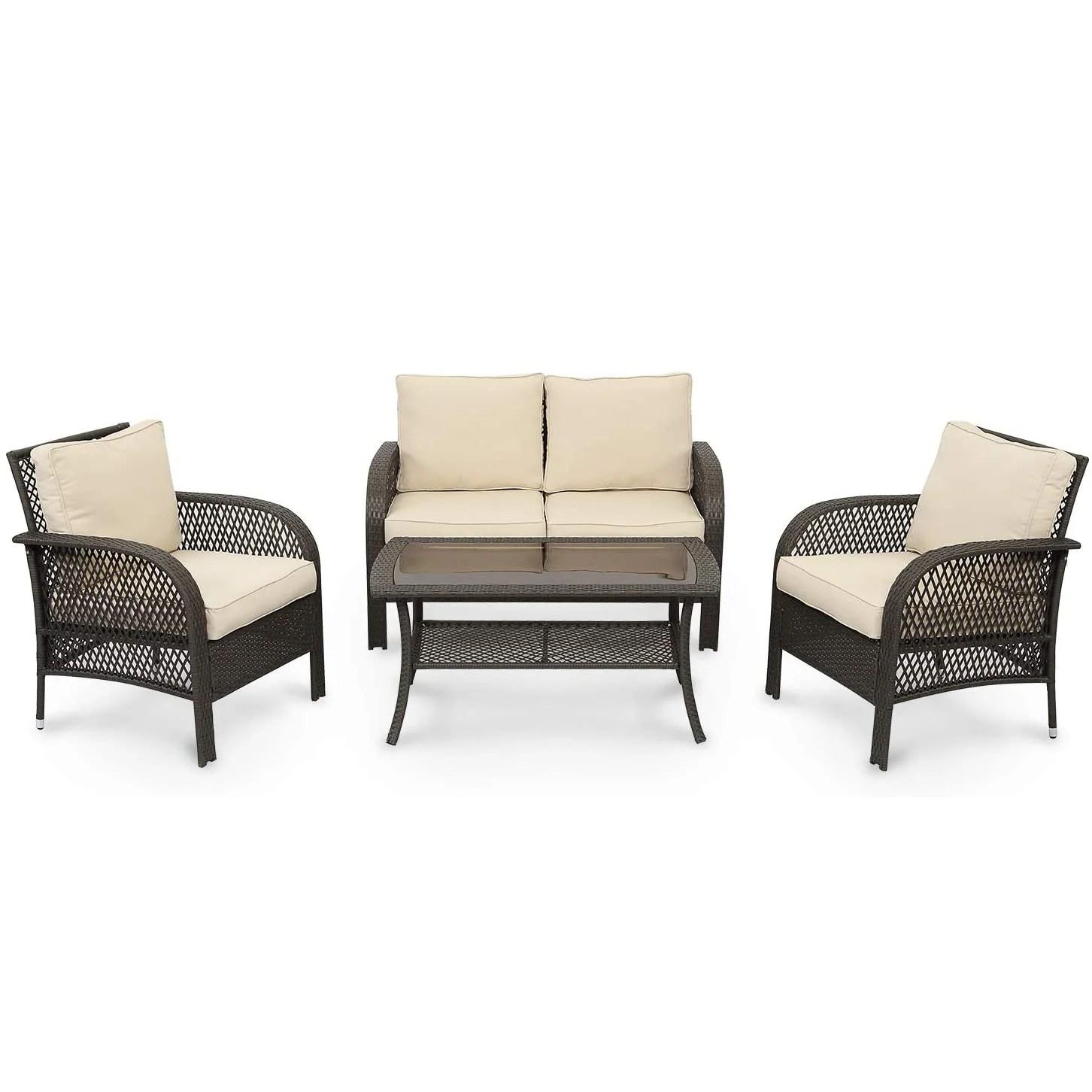 4 piece gray pe wicker rattan patio furniture set with gray cushuon