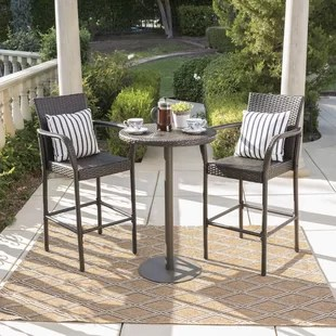 outdoor bar table and chairs first high chair two person patio dining sets you ll love wayfair waldhaus 3 piece height set