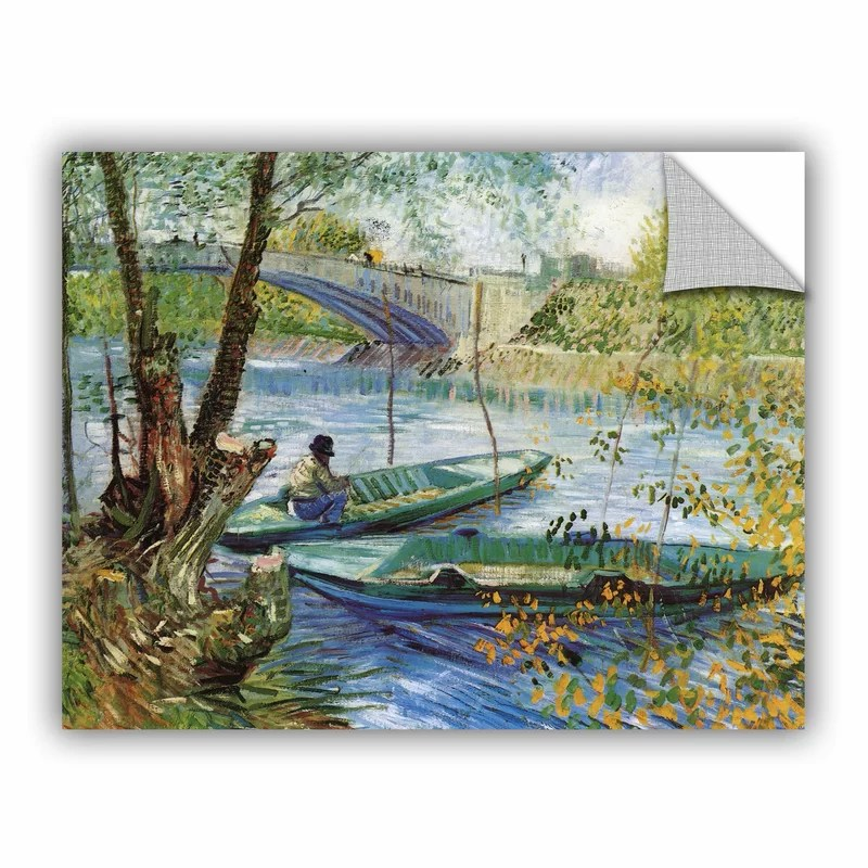 Fishing In Spring The Pont De Clichy (Asnieres) by Vincent Van Gogh  Removable Wall Decal Size: 18 H x 24 W x 0.1 D