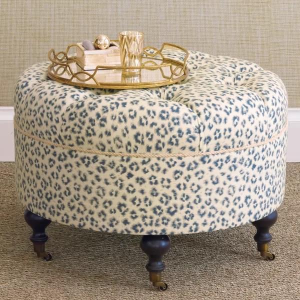 round leopard print ottoman