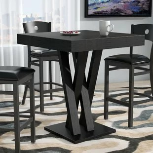 pub kitchen table metal chairs tables bistro sets you ll love wayfair hodder bar height solid wood dining