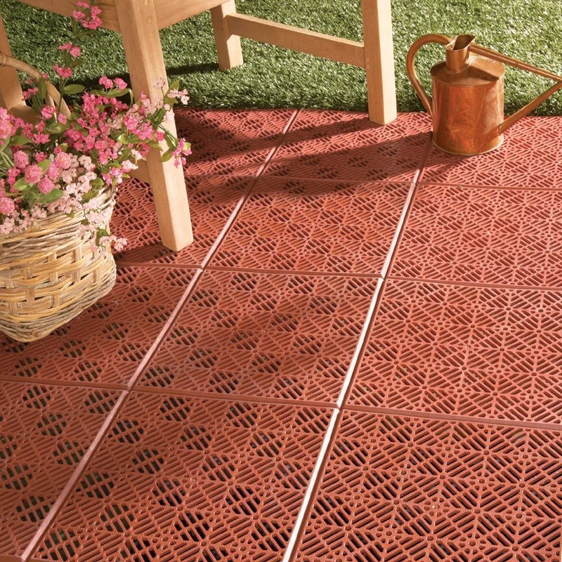 11 81 x 11 81 plastic interlocking deck tile in terracotta