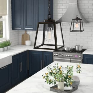 kitchen pendant lights 3 piece bistro set farmhouse birch lane louanne 1 light lantern