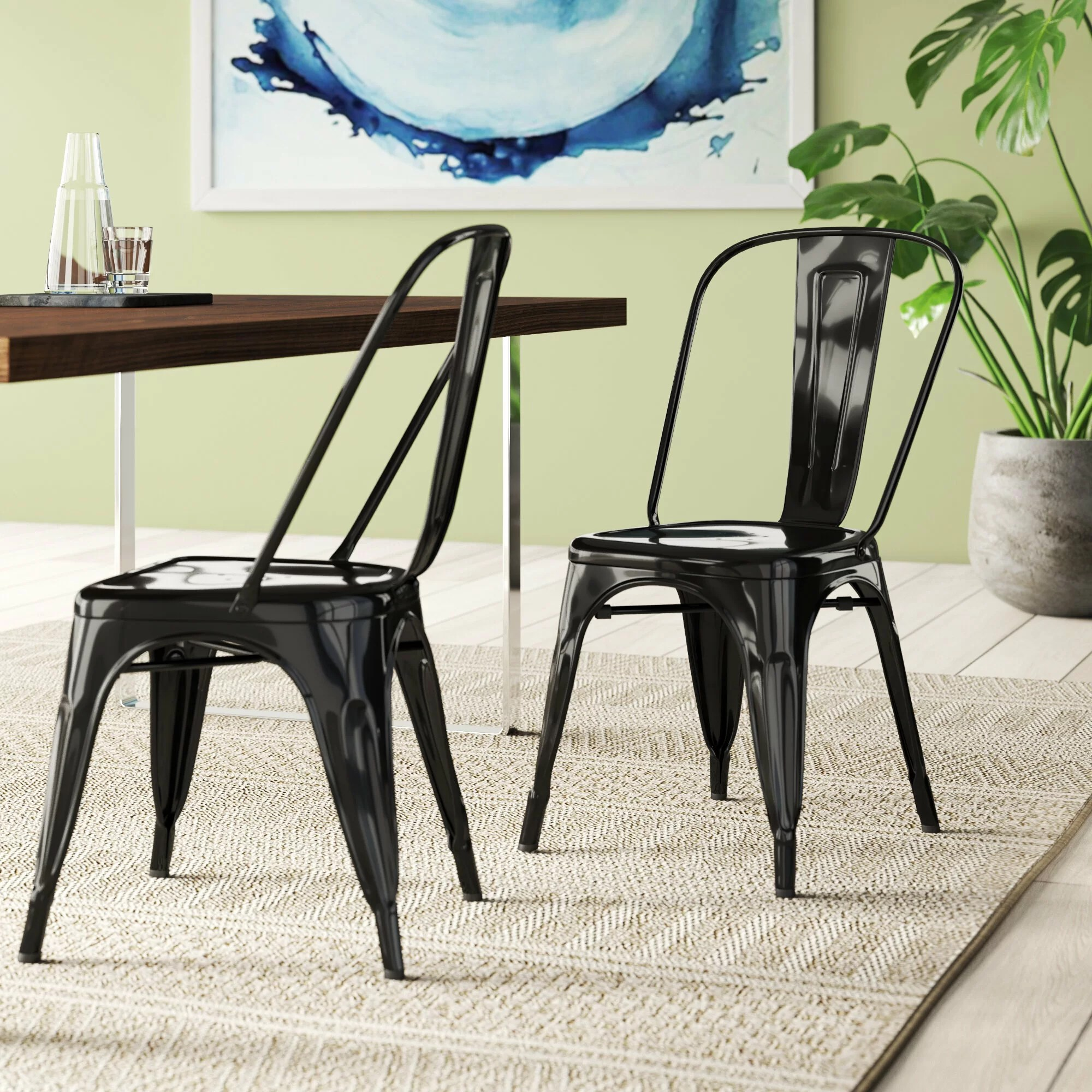Black Metal Kitchen Dining Chairs You Ll Love In 2020 Wayfair