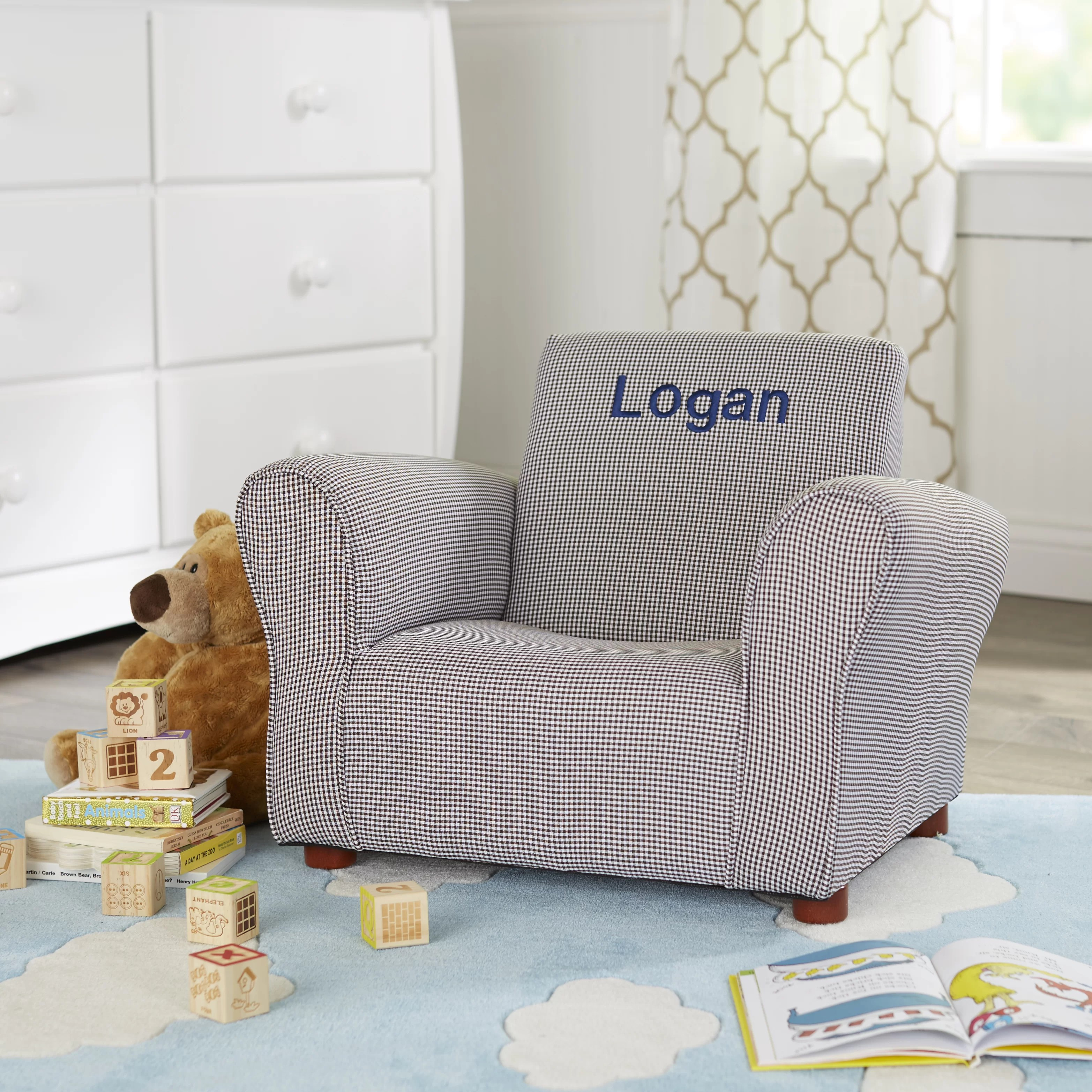 Monogrammed Toddler Chair Little Furniture Personalized Kids Club Chair