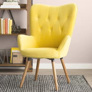 tufted yellow chair resin patio chairs accent you ll love wayfair quickview