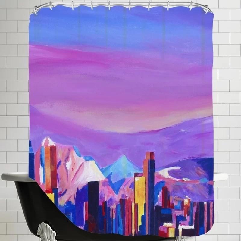 Markus Bleichner Eckhoff Denver Colorado Sunset Mood with Mountains Shower Curtain
