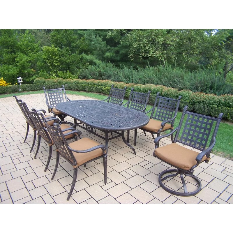 Vandyne Oval 9 Piece Dining Set with Cushions
