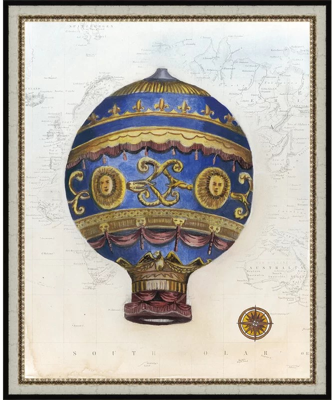 Trends Vintage Hot Air Balloons V Framed Graphic Art