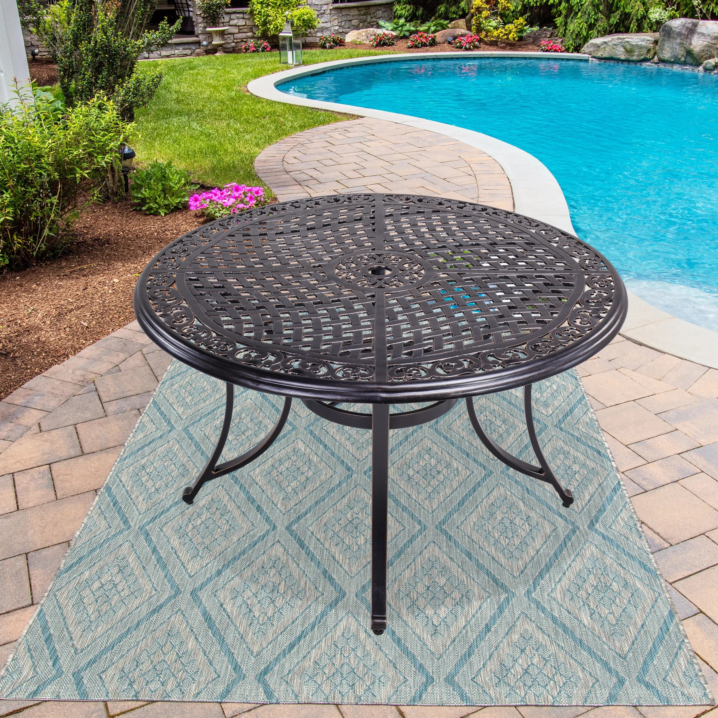 48 round patio dining table with umbrella hole aluminum top outdoor furniture