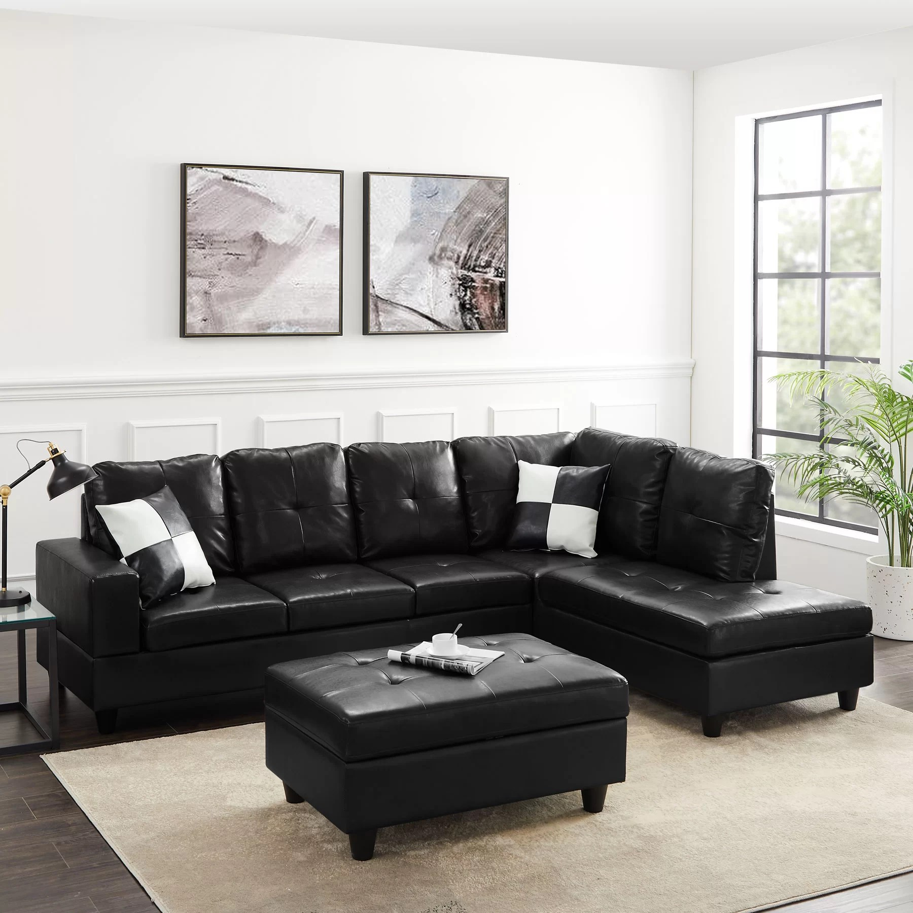 amhad 101 96 faux leather sofa chaise sectional with ottoman