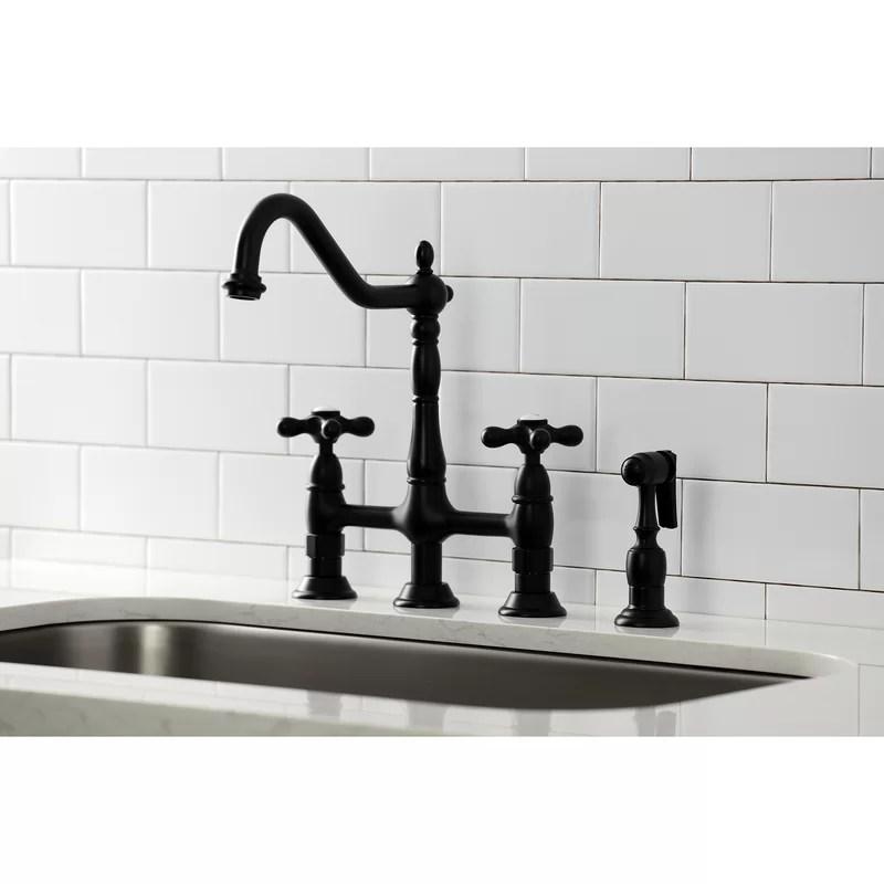 heritage bridge faucet with side sprayer
